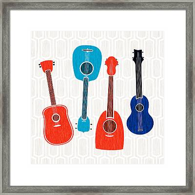 Framed Print featuring the mixed media Guitar Party  by Kristian Gallagher