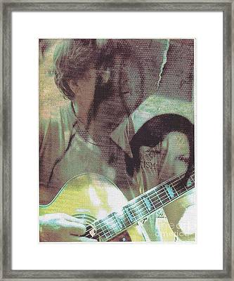 Guitar Player And The Nurse Framed Print by Miles Mulloy