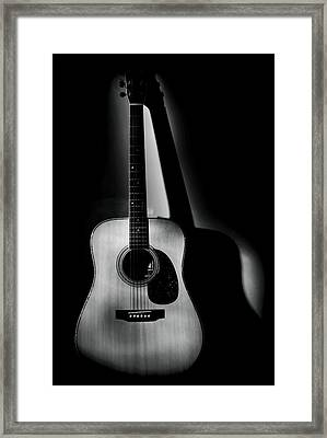 Guitar Shadows Black And White Framed Print