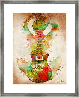 Framed Print featuring the digital art Guitar Siren by Nikki Smith