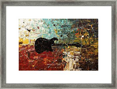 Framed Print featuring the painting Guitar Story by Carmen Guedez