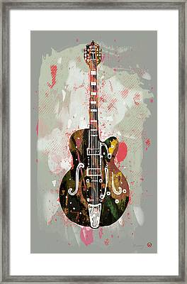 Guitar Stylised Pop Art Poster Framed Print by Kim Wang
