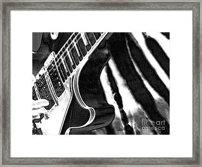 Guitar Zebra Framed Print by Roxy Riou