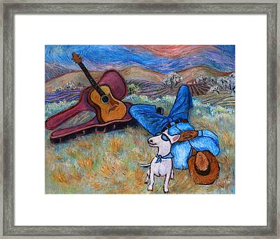Framed Print featuring the painting Guitar Doggy And Me In Wine Country by Xueling Zou