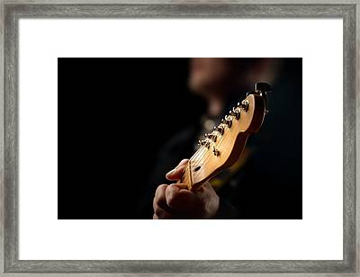 Guitarist Close-up Framed Print by Johan Swanepoel