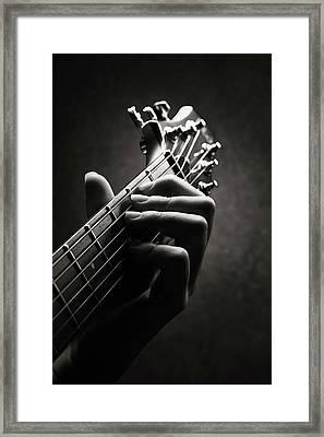 Guitarist Hand Close-up Framed Print