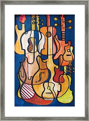 Guitars And Fiddles Framed Print by Douglas Pike