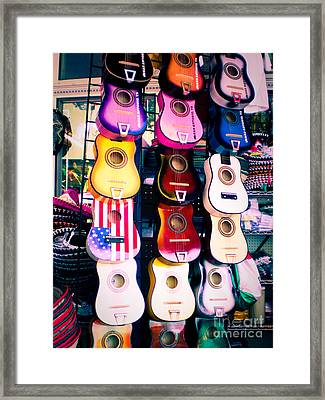 Guitars In San Antonio Market Framed Print by Sonja Quintero