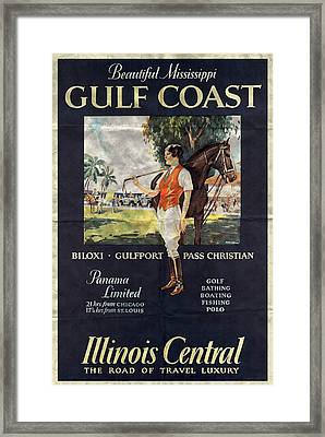 Gulf Coast - Illinois Central - Vintage Poster Folded Framed Print