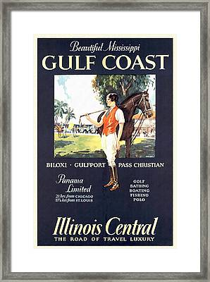 Gulf Coast - Illinois Central - Vintage Poster Restored Framed Print