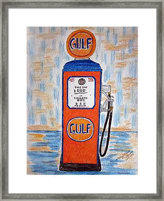 Framed Print featuring the painting Gulf Gas Pump by Kathy Marrs Chandler