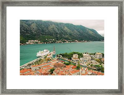 Gulf Of Kotor With Cruise Liner Framed Print