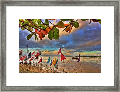 Gulf Of Paria Sunset Framed Print by Nadia Sanowar