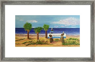 Gulf Shore Welcome Framed Print