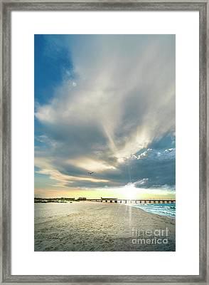 Gulf Shores Al Pier Seascape Sunrise 152a Framed Print