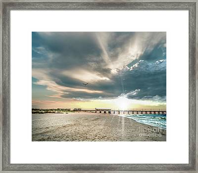 Gulf Shores Al Pier Seascape Sunrise 152c Framed Print