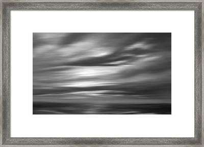 Gulf Sunset In Black And White Framed Print by Leonard Frederick
