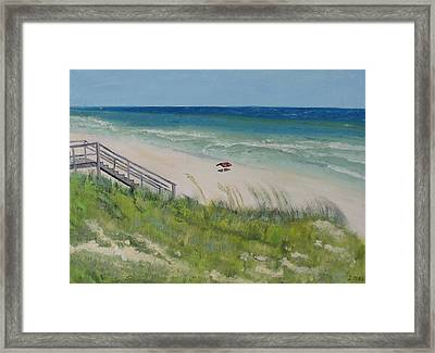 Gulf View From Dune Framed Print by John Terry