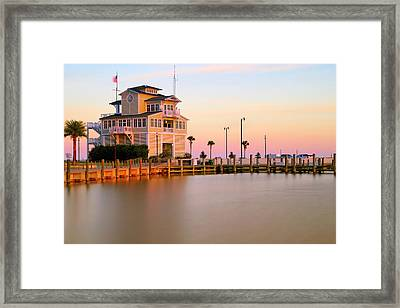 Framed Print featuring the photograph Gulfport Harbor Master's Office - Mississippi - Sunset by Jason Politte