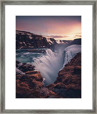 Gullfoss Sunset Framed Print by Tor-Ivar Naess