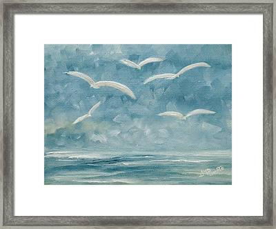 Gulls In The Storm Framed Print