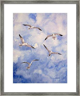 Gulls Is Flight Framed Print