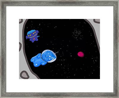 Gummy Bear In Space With Alien Framed Print