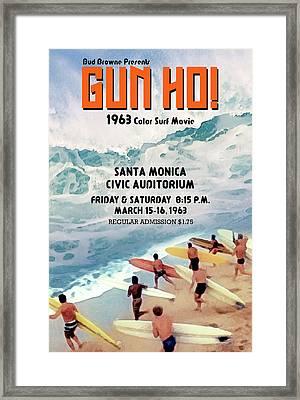 Gun Ho Vintage Surfing Poster Framed Print by Ron Regalado