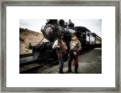 Gunfighters In Front Of Old Train Framed Print by Garry Gay