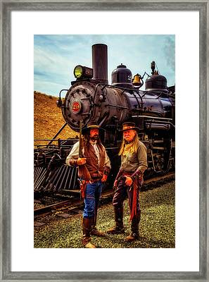 Gunfighters With Old Train Framed Print by Garry Gay