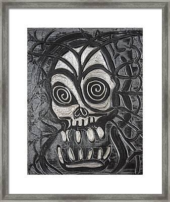 Gunmetal Skull Framed Print by Laura Barbosa