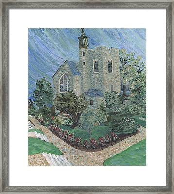 Framed Print featuring the painting Gunnison Chapel In The Last Days Of Summer by Denny Morreale