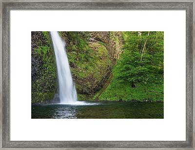 Framed Print featuring the photograph Gushing Horsetail Falls by Greg Nyquist