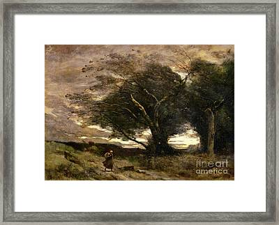 Gust Of Wind Framed Print by Jean Baptiste Camille Corot