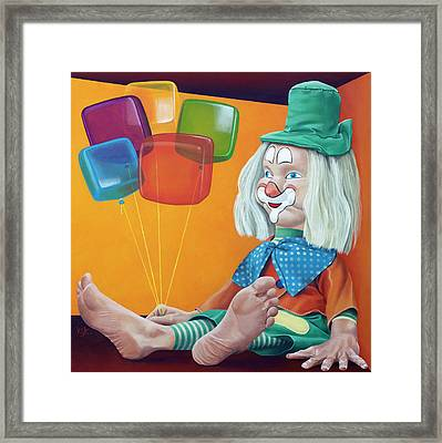 Gustav With Balloons Framed Print by Kelly Jade King