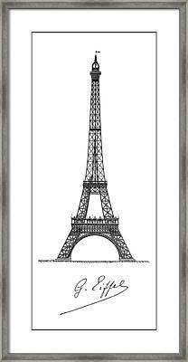 Gustave Eiffel's Tower Minimal Pinline Border Framed Print