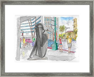 Guy Dill's Sculpture From The Belgian Suite, In Wilshire Blvd., Beverly Hills, California Framed Print by Carlos G Groppa