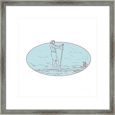 Guy Stand Up Paddle Tropical Island Oval Drawing Framed Print by Aloysius Patrimonio