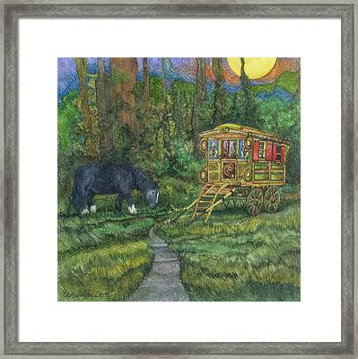 Framed Print featuring the painting Gwendolyn's Wagon by Casey Rasmussen White