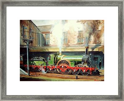 Framed Print featuring the painting Gwr Broad Gauge Single. by Mike Jeffries