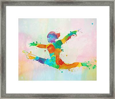 Gymnast Leap Paint Splatter Framed Print by Dan Sproul