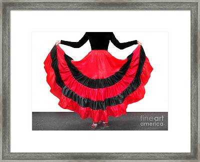 Gypsy Dance Skirt, Red-black. Ameynra Design Framed Print by Sofia Metal Queen