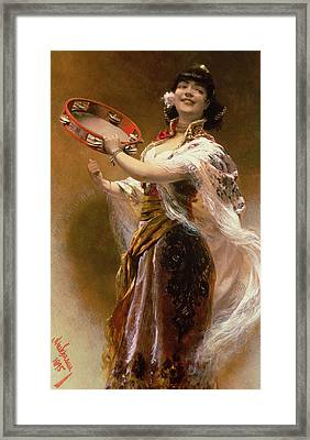 Gypsy Girl With A Tambourine Framed Print by Alois Hans Schram