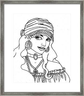 Gypsy Sketch Framed Print by Scarlett Royal
