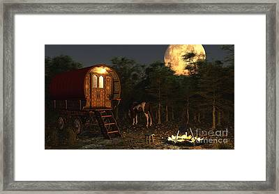 Gypsy Wagon In The Moonlight Framed Print by Fairy Fantasies