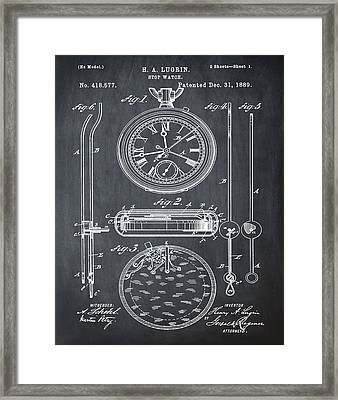H A Lugrin Stop Watch Patent 1889 In Chalk Framed Print by Bill Cannon