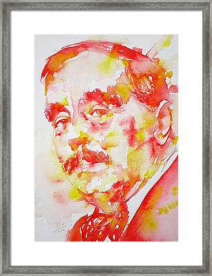 Framed Print featuring the painting H. G. Wells - Watercolor Portrait by Fabrizio Cassetta