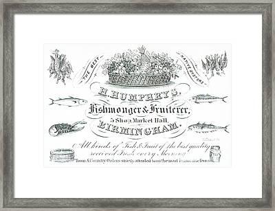 H Humphrys, Fishmonger And Fruiterer, Trade Card  Framed Print