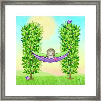 H Is For Hedgehog And Hammock Framed Print by Valerie Drake Lesiak