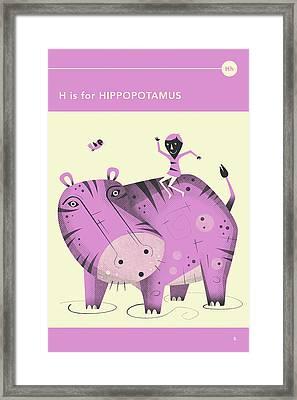 H Is For Hippopotamus Framed Print